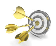 Three arrows darts in center. On white vector illustration