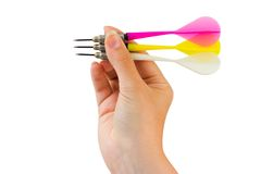Three arrows darts in hand Stock Image