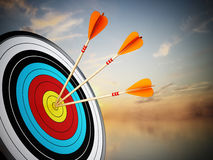 Three arrows hit at the center of the target. 3D illustration.  Royalty Free Stock Images
