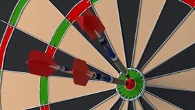Three arrows hitting the bulls eye on a dartboard Royalty Free Stock Photo