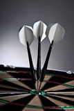 Three Arrows In The Middle Of The Target. Closeup Of Three Arrows In The Middle Of The Target Royalty Free Stock Images