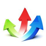 Three arrows pointing upside Stock Image
