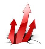 Three arrows rising. 3d illustration of three rising arrow breaking floor, teamwork concept Royalty Free Stock Image