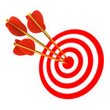 Three arrows in a target. 3d illustration royalty free illustration