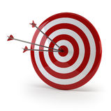 Three arrows in target. Three arrows hitted the mark stock illustration