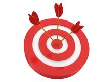 Three arrows in target. Three arrows in red aim target. Goal luck strategy game business concept vector illustration