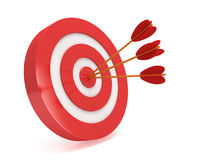 Three arrows in target. Three arrows in red aim target. Goal luck strategy game business concept royalty free illustration