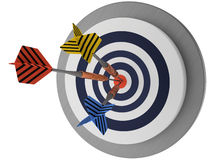Three arrows target on white background success best winner 3D Royalty Free Stock Photo