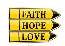 Three arrows with the words faith, hope, love Stock Image