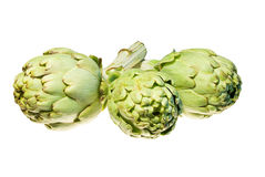 Three artichokes isolated on white Royalty Free Stock Image