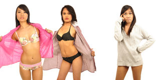 Three Asian female models wearing lingerie Stock Image
