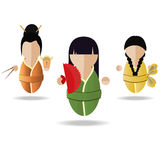 Three Asian girl. Vector illustration of three Asian girl with a fan and chopsticks Stock Photography