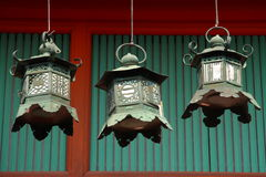 Three asian lanterns. Three japanese lanterns in Nara (Kasuga Taisha Stock Image