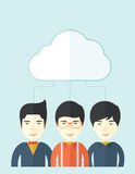 Three asian men under the cloud Royalty Free Stock Image