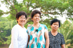 Three Asian senior women Stock Photo