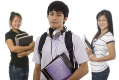 Three Asian students Stock Photo