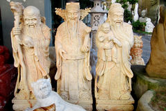 Three asian wise men marble sculptures Royalty Free Stock Photography