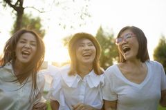 Three asian woman friend happiness emotion vacation time stock photo