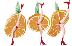 Three asparagus dance French Cancan. Stock Image