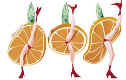 Three asparagus dance French Cancan. Three asparagus dance the french Cancan with oranges slices royalty free illustration