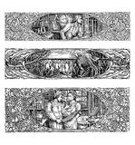 Three assorted art-nouveau border decorations Stock Photos