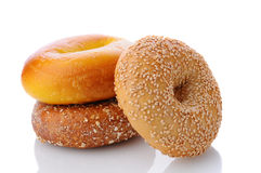 Three Assorted Bagels Royalty Free Stock Image