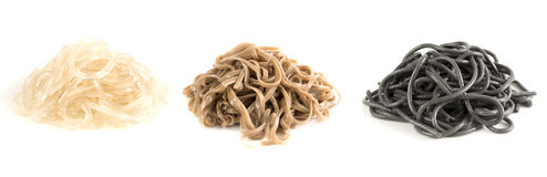 Three assorted noodles isolated on white background Stock Photos