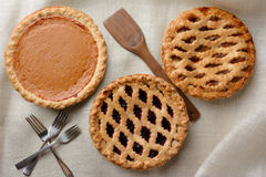 Three Assorted Pies Royalty Free Stock Images