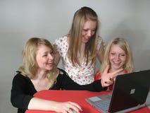 Three Astonished Young Girls Stock Photo