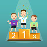 Three athletes with medals on a pedestal. Awards ceremony. Three athletes with medals on a pedestal. Winners podium. the emotions of the winners. Vector Stock Image