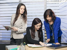 Three attractive female colleagues working in the office Stock Images