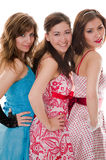 Three attractive girlfriends with beautiful smile Stock Images