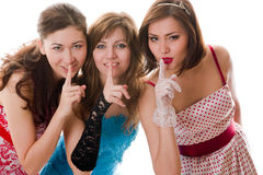 Three attractive girlfriends say Royalty Free Stock Photography