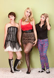 Three attractive teen punk girls looking bored Royalty Free Stock Photography