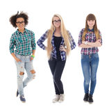 Three attractive teenage girls isolated on white Royalty Free Stock Images