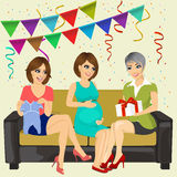 Three attractive women on a baby shower party Stock Image