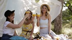 Three attractive women celebrating. Drinking orange cocktails from wineglasses. Sitting and smiling. Cheers. Picnic or. Hen party concept stock footage