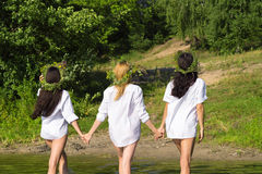 three attractive women out of the water in the shirt Royalty Free Stock Image