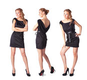 Three attractive young women in a black dress. Portrait of three attractive young woman in a black dress Full length looking at camera isolated on Royalty Free Stock Image
