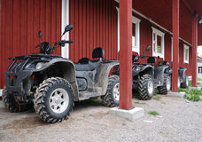 Three ATVs outdoor Stock Photo