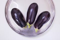 Three aubergines Royalty Free Stock Images