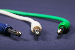 Three audio cords Royalty Free Stock Photo