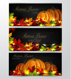Three autumn banners. With leaves cozy patio lights and three orange pumpkins on wooden texture Stock Photography