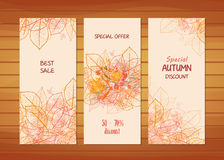 Three autumn banners with stylized autumn leaves Stock Photography