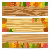 Three autumn sale banners with yellow leaves stock illustration