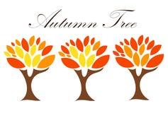 Three autumn trees Stock Photos