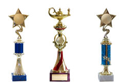 Three awards isolated on white bacground. Three awards (blue and red) isolated on white bacground stock photography