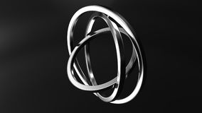 Three-axis gimbal made of silver. Balance, mechanical precision or motion concepts. 3D rendering. Three-axis gimbal made of silver rings. Balance, precision or Royalty Free Stock Image
