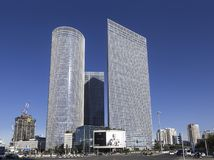 Three Azrieli towers in tel Aviv. Israel stock photo