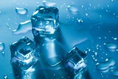 Three azure Ice Cubes Royalty Free Stock Photos